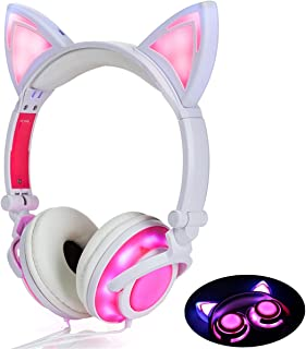 Cute On-Ear Headphones for Girls (4-20 Ages) Foldable Noise Isolating Cat Headphones with Light Up LED Wired Earphones for iPad Tablet PC Computer Mobile Phones Xmas Gift (Pink)