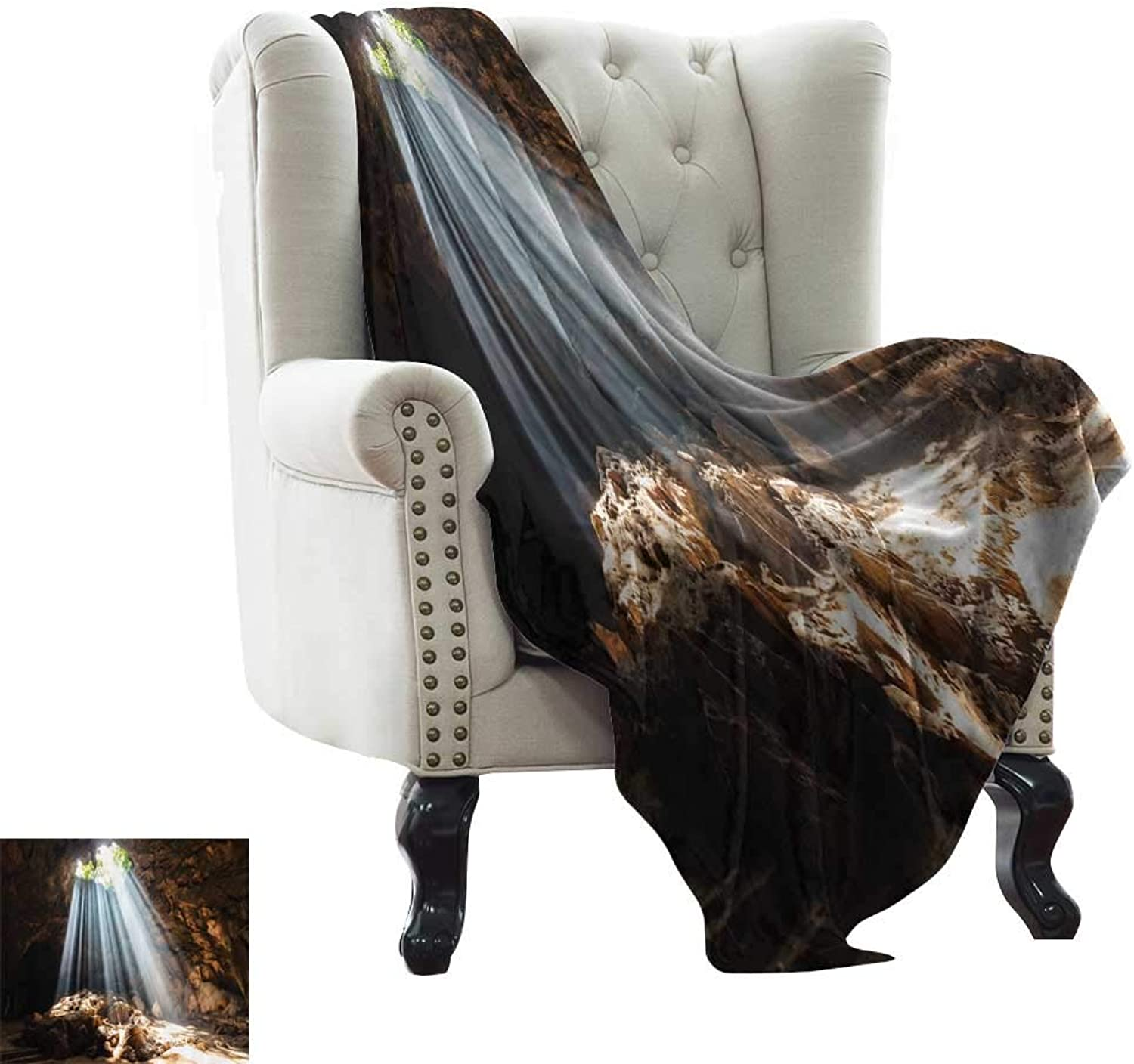 Natural Cave,Bed Sheet Photography Pictures Decorations Mystic Daylight for Rehabilitation Exercises Place a Part of The Mountain Design 70 x60  Super Soft Boys Warm Blanket Brown White Green