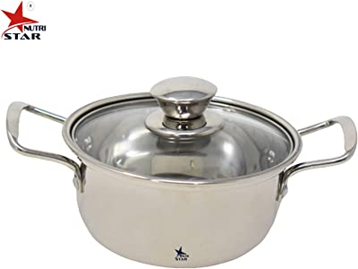 Nutristar Stainless Steel Dish Serveware with Glass lid | Dish Set serveware Diameter = 6 Inch