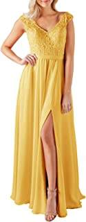 Jonlyc V-Neck A-Line Embroidered Chiffon Long Bridesmaid Evening Dresses with Slit