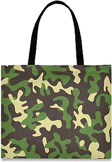 DOSHINE Tragetasche aus Segeltuch, Camouflage, abstrakt, wiederverwendbar, Einkaufstasche, Schulranzen, Handtasche für Damen, Mädchen