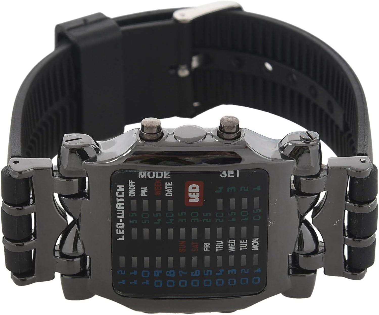 Ctzrzyt Unisex Binario LED Reloj Digital Muestra de Fecha Reloj de Pulsera de Tendencia de Deporte de Colores Color del Arma