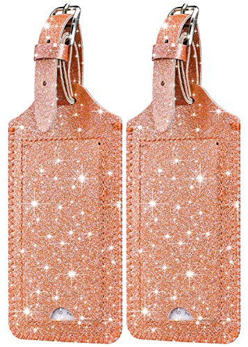 [2 Pack] Luggage Tags - HOTCOOL Leather Luggage Tags Travel Bag Tags, Glitter Rose Gold