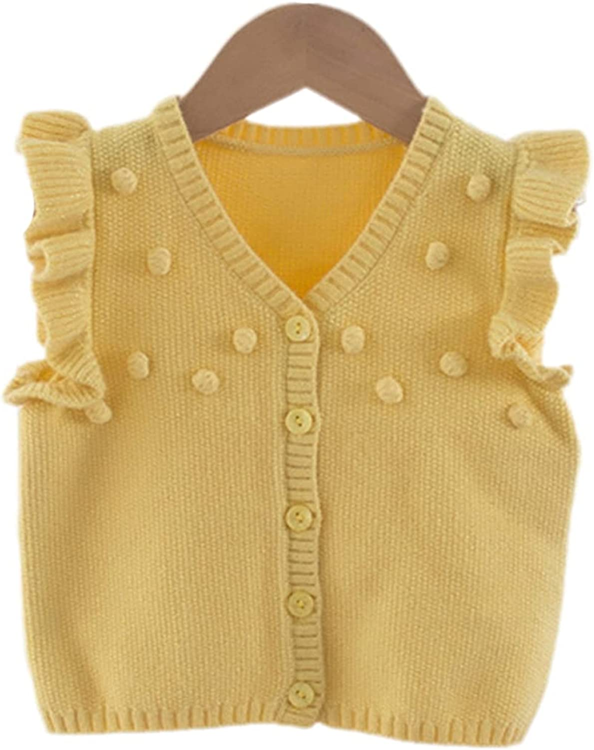 Spring Baby Kids Vest for Girl Solid Sweater V-Neck Cardigan Top Autumn Sleeveless Cute Children's Clothing