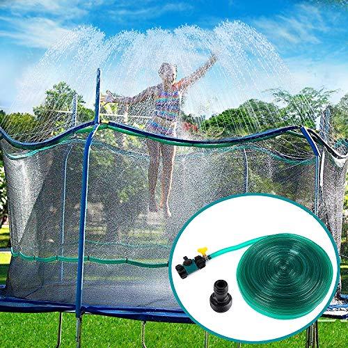 Toyssa Aspersor Trampolín Set, 12M Cama Elástica de Jardín Water Park Play Sprinklers Pipe, Verano Aspersor de Trampolín al Aire Libre Juguetes Accesorios de Trampolín para Niños Niñas