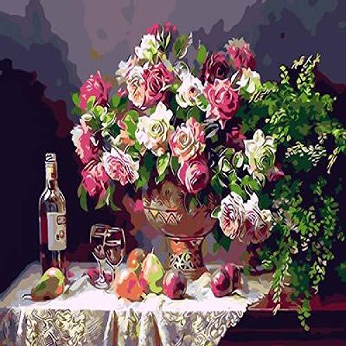 Thfff olieverfschilderij digitaal DIY, olieschilderij, handbeschilderd, voor woonkamer, muur, scène, decoratie, geschenk, 40 x 50 cm, vaas voor eettafel Con Cornice 40x50cm