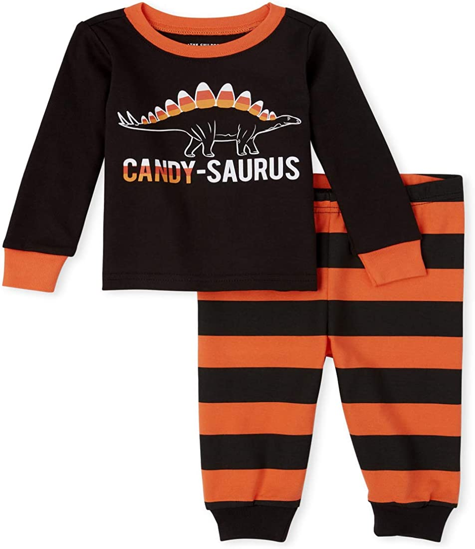 The Children's Place Boys' Unisex Baby and Toddler Matching Family Halloween Glow Candy-Saurus Snug Fit Cotton Pajamas