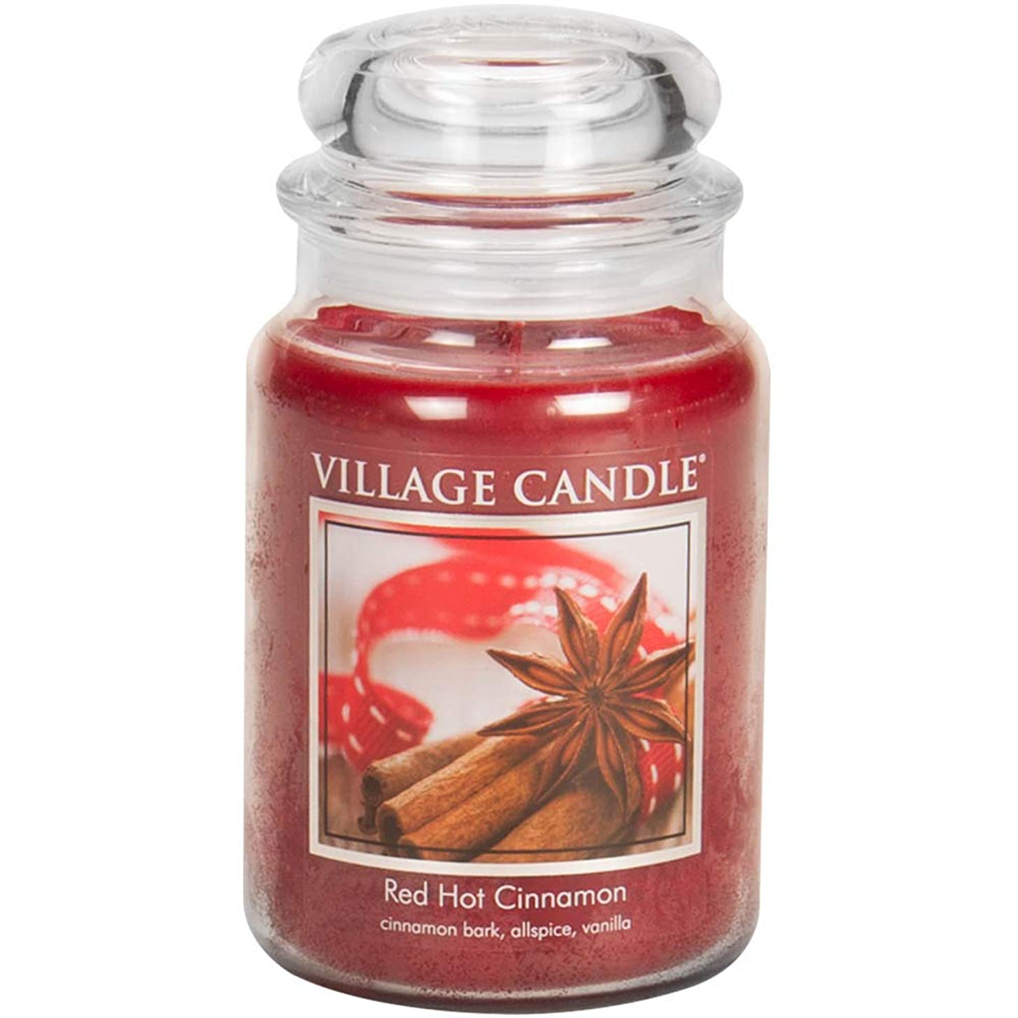 毎月トロピカル消えるVillage Candle Scented Large Jar 26oz - RED HOT CINNAMON by Village Candle