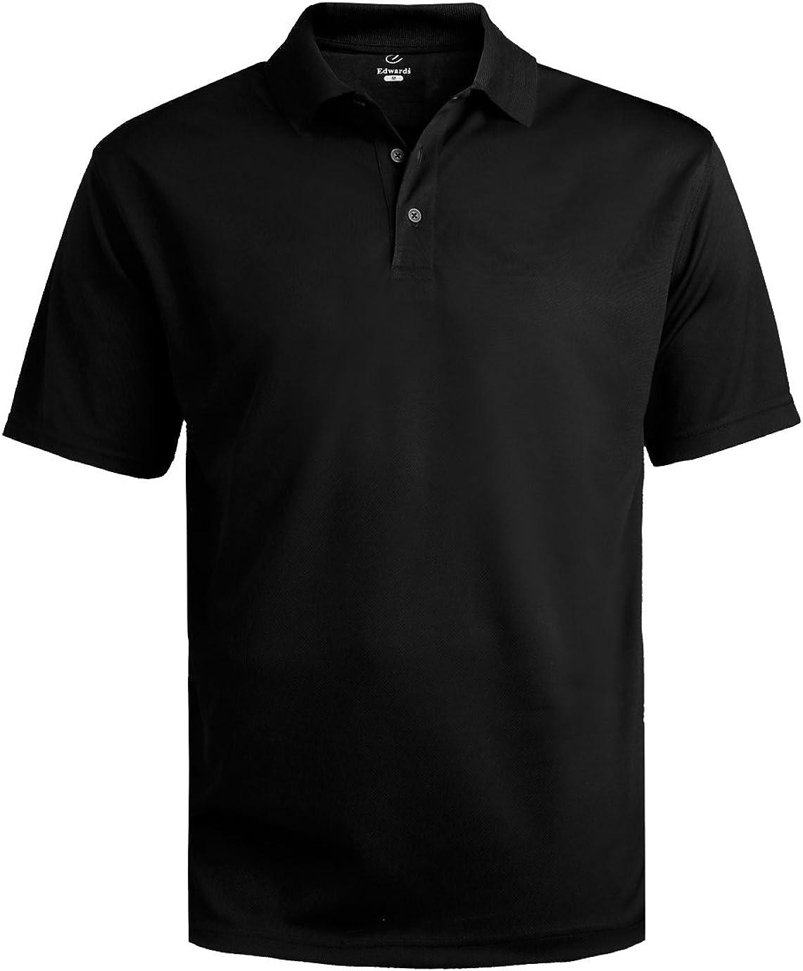Edwards Garment Men's Big And Tall Dry-Mesh Hi-Performance Polo Shirt_BLACK_6XLT