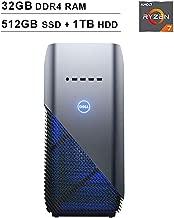 2019 Newest Dell Premium Inspiron Gaming Desktop (AMD 8-Core Ryzen 7 2700 up to 4.1GHz, 32GB DDR4 RAM, 512GB SSD (Boot) + 1TB HDD, AMD Radeon RX 580 4GB, WiFi, Bluetooth, HDMI, Windows 10, Blue)