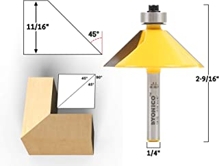 Yonico 13915q 45 Degree Bevel Edge Forming Router Bit 1/4-Inch Shank