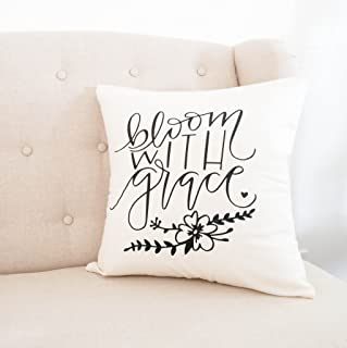 Baby Girl Nursery Pillow Cover, Bloom With Grace, Floral Nursery, Babe Cave, Christian, Handwritten, Motivational Quote, Craft Room
