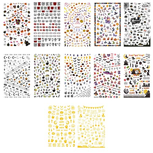 TailaiMei 1500 Pcs Halloween Nail Decals Stickers, 12 Sheets Self-adhesive DIY Nail Art Tips Stencil for Halloween Party, Include Pumpkin/Bat/Ghost/Witch...