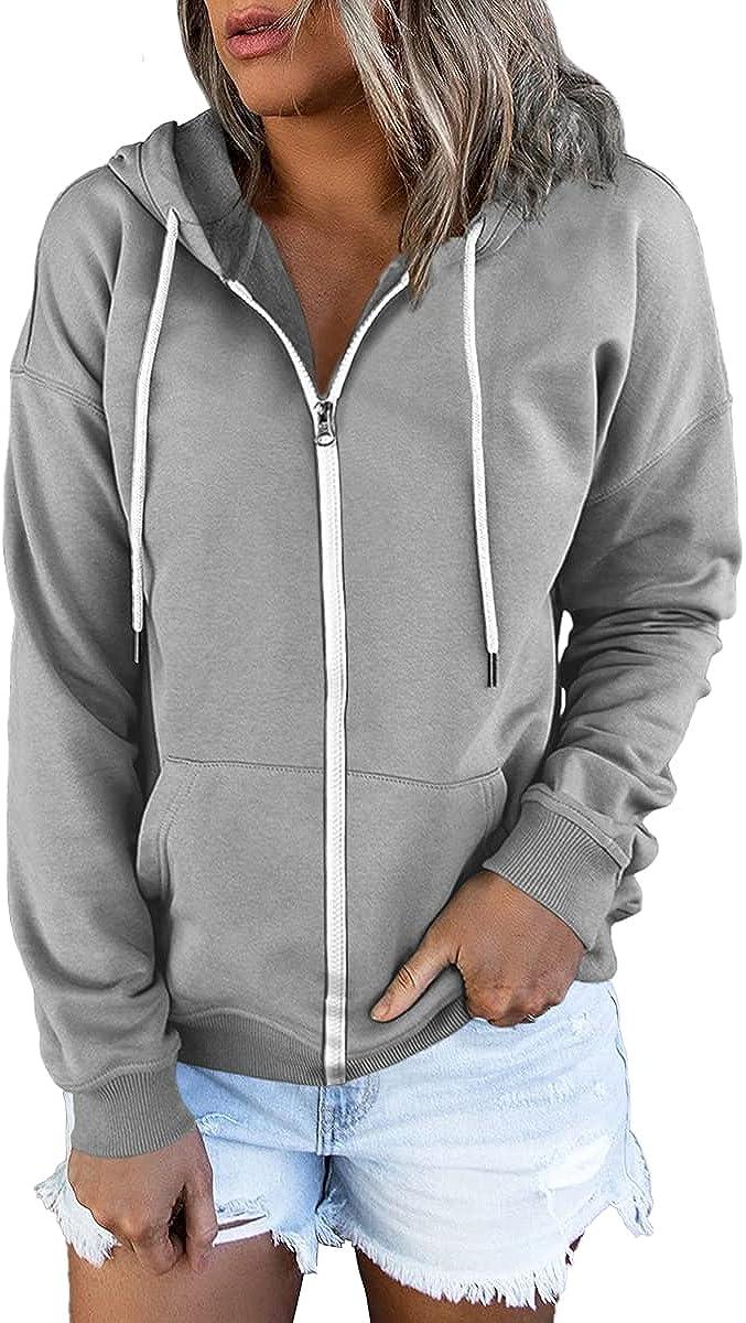 Lillusory Women's Zip Up Hoodie Long Sleeve Fall Oversized Sweatshirts Casual Drawstring Hoodies Jacket with Pocket