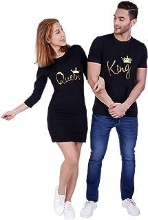 ADYK Cotton Couple T Shirt Dress King Queen