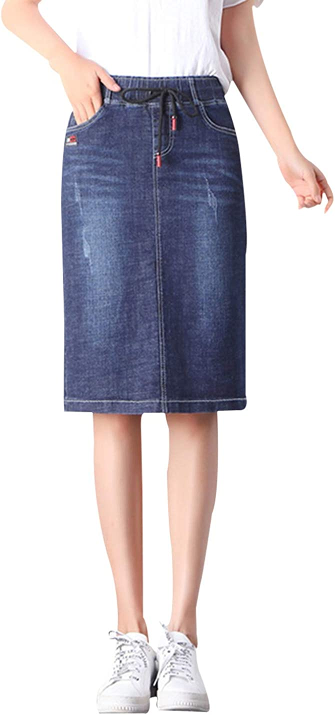 Yimoon Women's Casual Elastic Waist Washed Knee Length Denim Jean Skirt