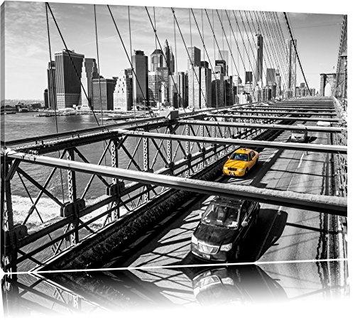 Gelbes Taxi in New York auf Brücke Format: 100x70 auf Leinwand, XXL riesige Bilder fertig gerahmt mit Keilrahmen, Kunstdruck auf Wandbild mit Rahmen, günstiger als Gemälde oder Ölbild, kein Poster oder Plakat