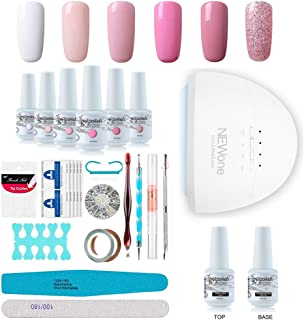 Gel Nail Polish Starter Kit, Speed Curing 48W Professional LED lamp Base Top Coat Set & 6 Colors, Manicure Tools Popular Nail Art Designs by Vishine #C003