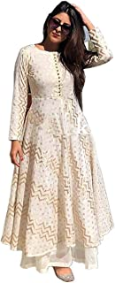 Zainab Fashion Rayon Anarkali Kurti with Palazzo for Women and Girls White