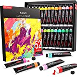 Acrylic Paint Set, Caliart 52 Vivid Colors (22 ml/0.74 oz) Craft Paint Supplies for Canvas Wood Ceramic Rock Painting, Rich Pigments Non Toxic Paints for Kids Beginners Students Adults Artist Painters