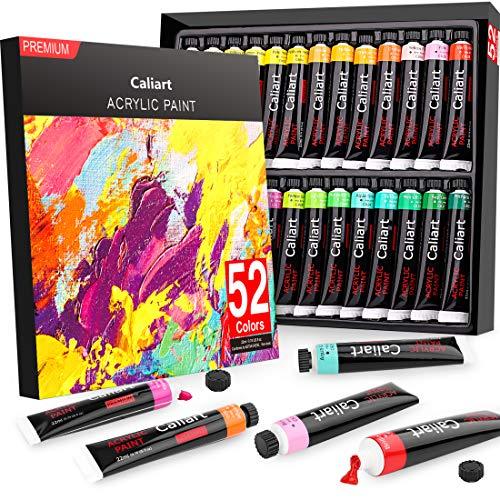 Acrylic Paint Set, Caliart 52 Vivid Colors (22 ml/0.74 oz) Craft Paint Supplies for Canvas Wood Ceramic Rock Painting, Rich Pigments Non Toxic Paints for Kids Beginners Students Adults Artist Painters