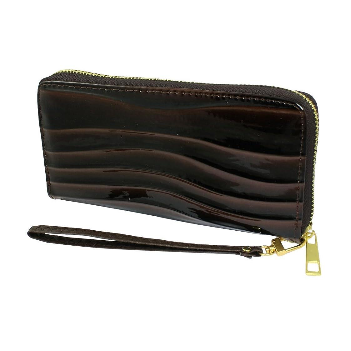 削る怪物洗練uxcell ウォレット バッグ チョコレート財布 女性 プリント レザージップ