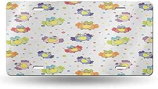 dsdsgog Elegant Car Plate Nursery,Cartoon Doodle Ravens with Dotted Background Colorful Happy Birds Animal Love Fun, Multicolor 12x6 inches,Original Design