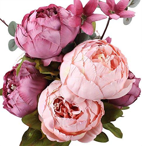 Peoxio - Bouquet vintage di peonie artificiali in seta, ornamento per casa e matrimoni, confezione da 1 (Picture)