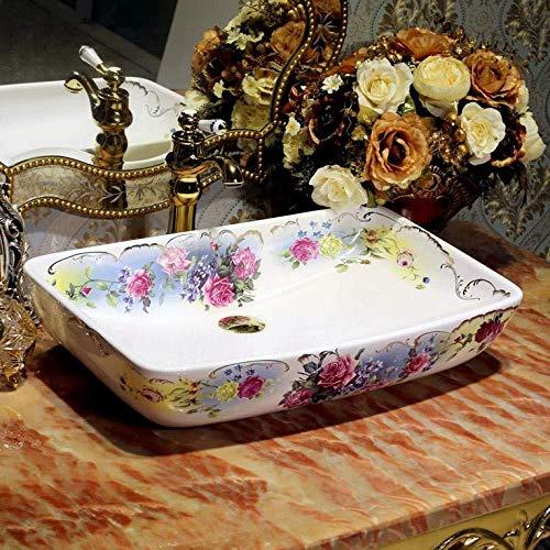 Wieoc Waschtisch Rechteckige Form Europa Stil Waschbecken Waschbecken Jingdezhen Kunst Zähler Top Keramik Waschbecken bemalt Porzellan Waschbecken