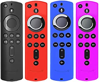 [4 Pack] Silicone Cover Case for TV Stick 4K / TV (3rd Gen) Compatible with All-New 2nd Gen Remote Control (Black Red Blue...