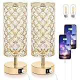 Touch Control Crystal Table Lamp Set of 2 Bedside Nightstand Lamps with 2 USB Charging Ports, 3-Way Dimmable, K9 Crystal Decorative (Gold)