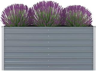 vidaXL podniesione warzywo ogród łóżko ocynkowane stal szary kwiat doniczka doniczka