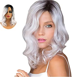 TopWigy Silver White Ombre Wigs Curly Wavy Medium Length Synthetic Dark Root Women Wigs for Daily Use