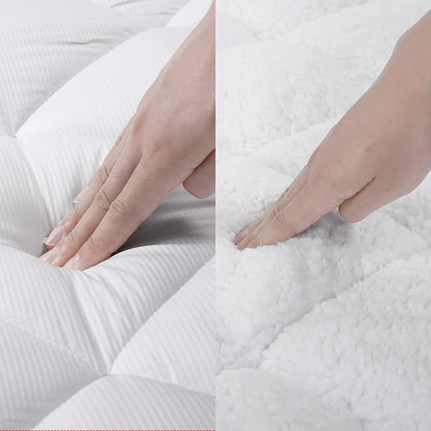 SOPAT Reversible Department store Queen OFFer Mattress Pad Cover Quilted Topper Pillow