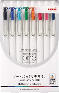 Uni Uni-Ball One, Gel Ink 0.38mm Ballpoint Pen, 8 Colors Set (UMNS388C)