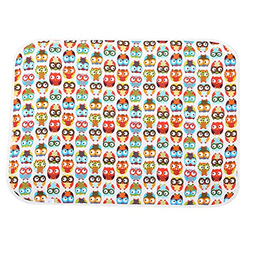 zcyg Almohadilla para pañales, almohadilla de algodón impermeable para bebés de 3 capas (búho)