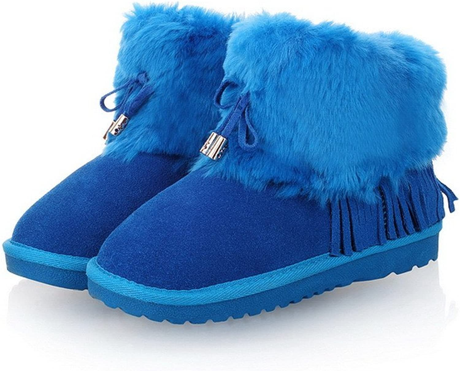 WeenFashion Womens Closed Round Toe Frosted Cow Leather Artificial Plush Solid Boots with Tassels, bluee, 7.5 B(M) US