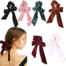 6Pcs Hair Scrunchies Bowknot Velvet Elastics Hair Bands Scrunchy Hair Rope Ties Hair Bow Ponytail Holder Accessories for W...