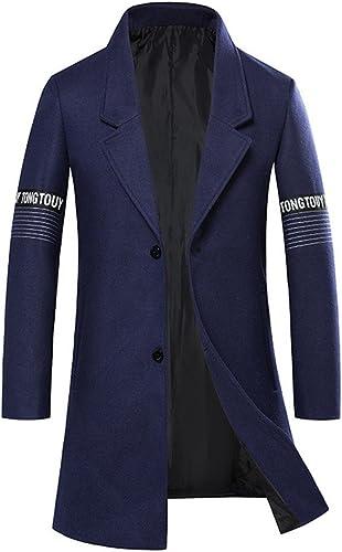 Fvbuhhi Manteau en Laine avec Une Coupe Le Manteau d'hiver et Les Sections du Droit des Hommes,Bleu foncé,XXXL