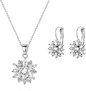 18K Rose Gold Plated Cubic Zirconia Snowflake Lever Back Earrings Necklace Set for Women CZ Jewelry Set
