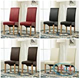 Set of 2 Faux Leather Dining Chairs Roll Top Scroll High Back For Home & Commercial Restaurants (Red)