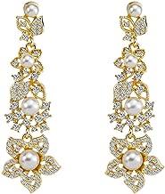 Elogoog Silver Teardrop Crystal Long Tassels Dangle Earrings Sparkling Rhinestone Ladies Gifts