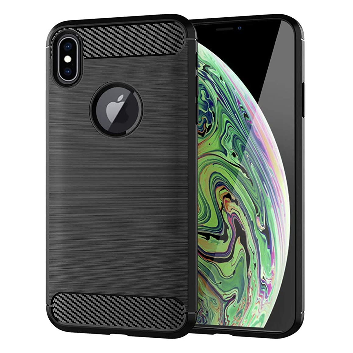 Moment Dextrad for iPhone Xs Max Case,Anti-Fingerprint Protective Bumper Soft TPU Cover with Shock-Absorption and Carbon Fiber Case Design for iPhone Xs Max + Stylus (Black)