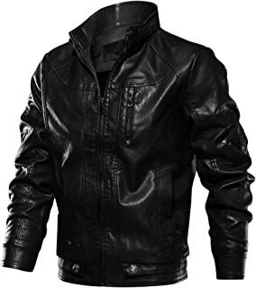 Men's Fall Winter Faux Leather Jacket Vintage Stand Collar Thin Pu Leather Biker Jackets
