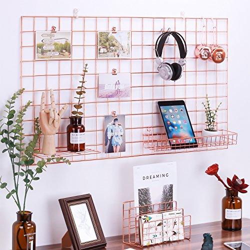 Moseley Rose Gold Foto Aufhängen Display, Wand Grid Panel für Display Dekoration und Speicherung, Größe 96x 53,8cm/Rose Gold/Kupfer