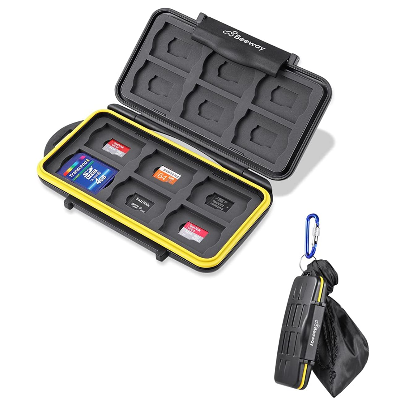 Beeway? Tough Water Shock Resistant Protector Memory Card Carrying Case Holder 24 Slots for SD SDHC SDXC and Micro SD TF with Storage Bag & Carabiner