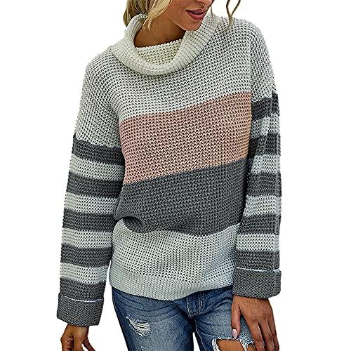 Jersey de bloque de color a rayas para mujer Suéter grueso de manga larga Jersey de punto con cuello redondo...