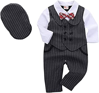 Fairy-Baby Toddler Boys Fake 2-pc Autumn Bodysuit Gentleman Syle Cotton Romper with Matching Berets