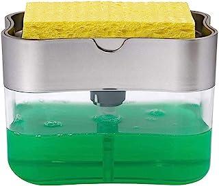 Rawdah_ Dispensador de Jabón para Cocina +Esponja Soporte 2 En 1 Ahorra Espacio Dispensador Jabon Cocina,Fregadero, Soap Pump Dispenser Sponge Holder for Dish Soap Sponge Kitchen Tool (Plata)