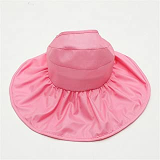 Ladies Straw Hat Beach Holiday Big Hat Sun Visor Hat Bow Tie Adjustable,Formal and Polite (Color : Pink)